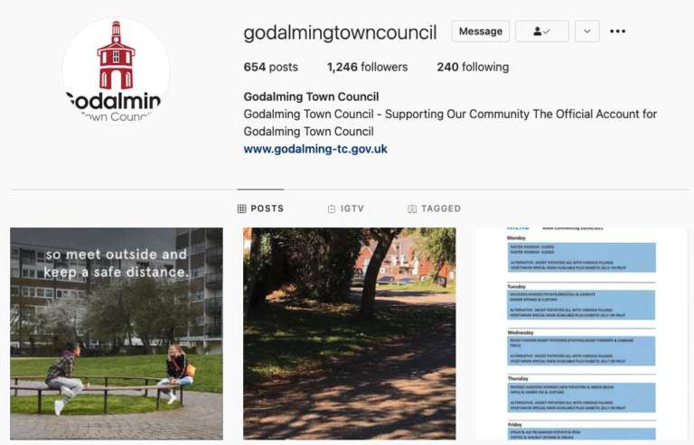 Godalming Town Council Instagram account